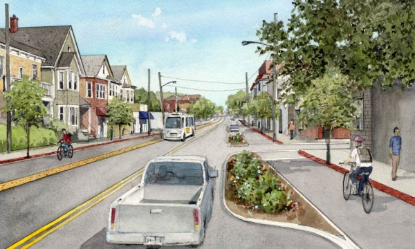 Rendering at Forest Street looking southeast, city'sversion