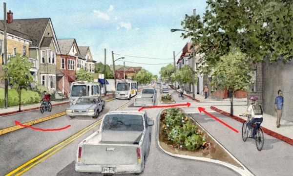 Rendering at Forest Street showing typical conflicts