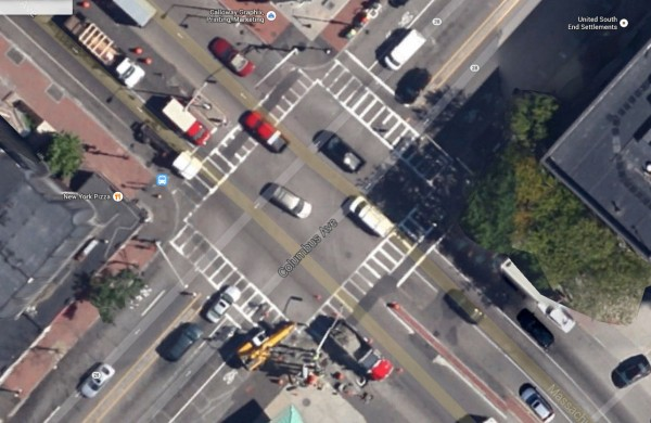 Google overhead view of Massachusetts Avenue and Columbus Avenue
