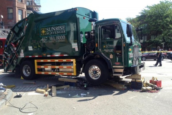 Boston Globe photo of collision at Columbus Avenue and Massachusetts Avenue