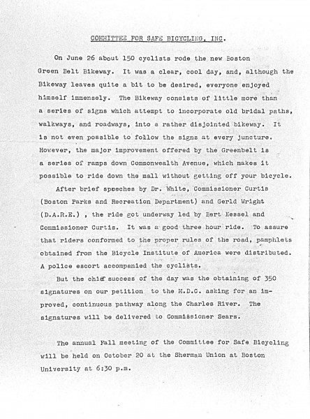 Report on Committee for Bicycle Safety ride of June 26, 1971