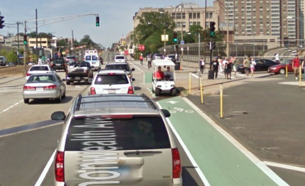 Light electric vehicle in bike lane on Commonwealth Avenue