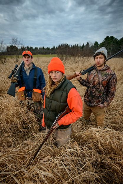 Cornwall, Vermont (November 21, 2013) - Middlebury College student hunters John Montgomery, Katherine McFarren, and Alexander Cort (L-R). (Photo © 2013 Brett Simison)