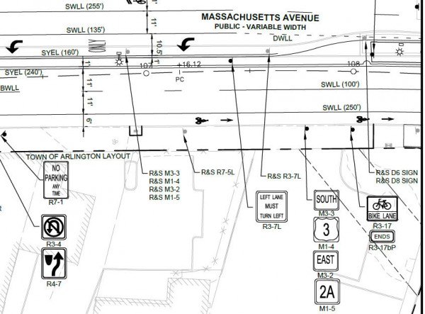 Part of page 33 of the plans showing sign planted in driveway