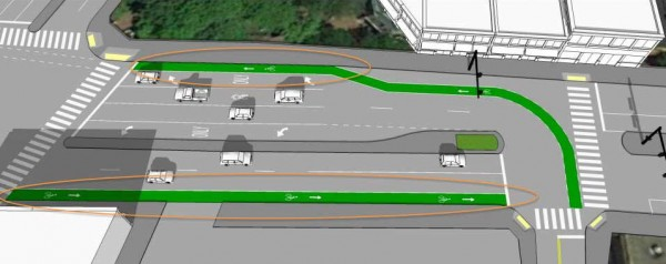 Drawing showing new bikeway alignment